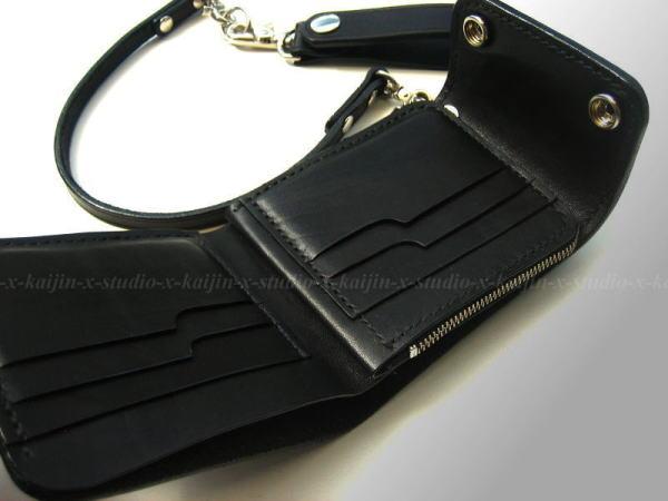 Butterfly Black Saddle Leather Wallet (  Inside )