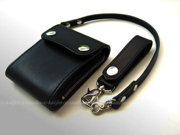 Butterfly Black Saddle Leather Wallet