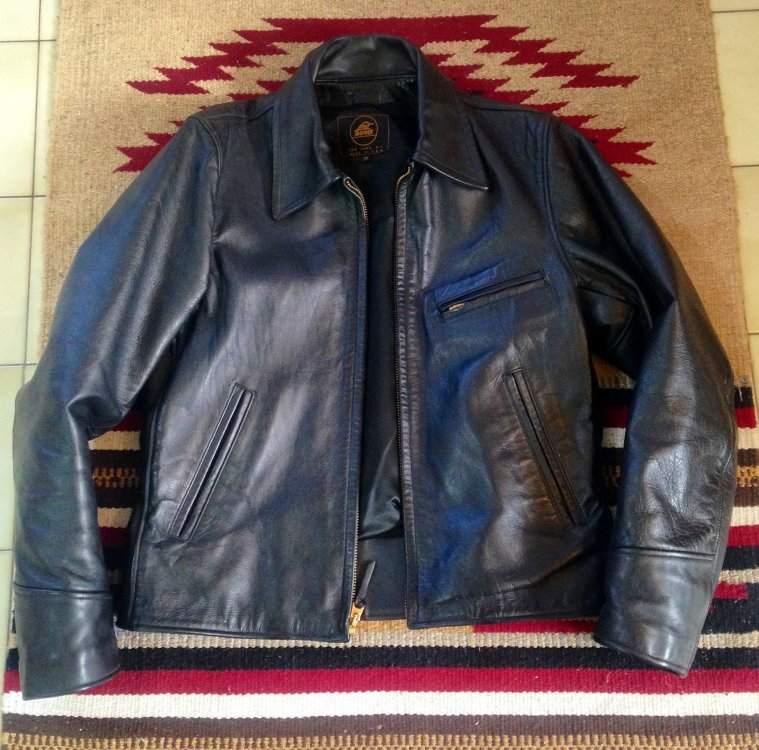 Lost Worlds Ryder, horsehide sz 38 half-belt jacket, black