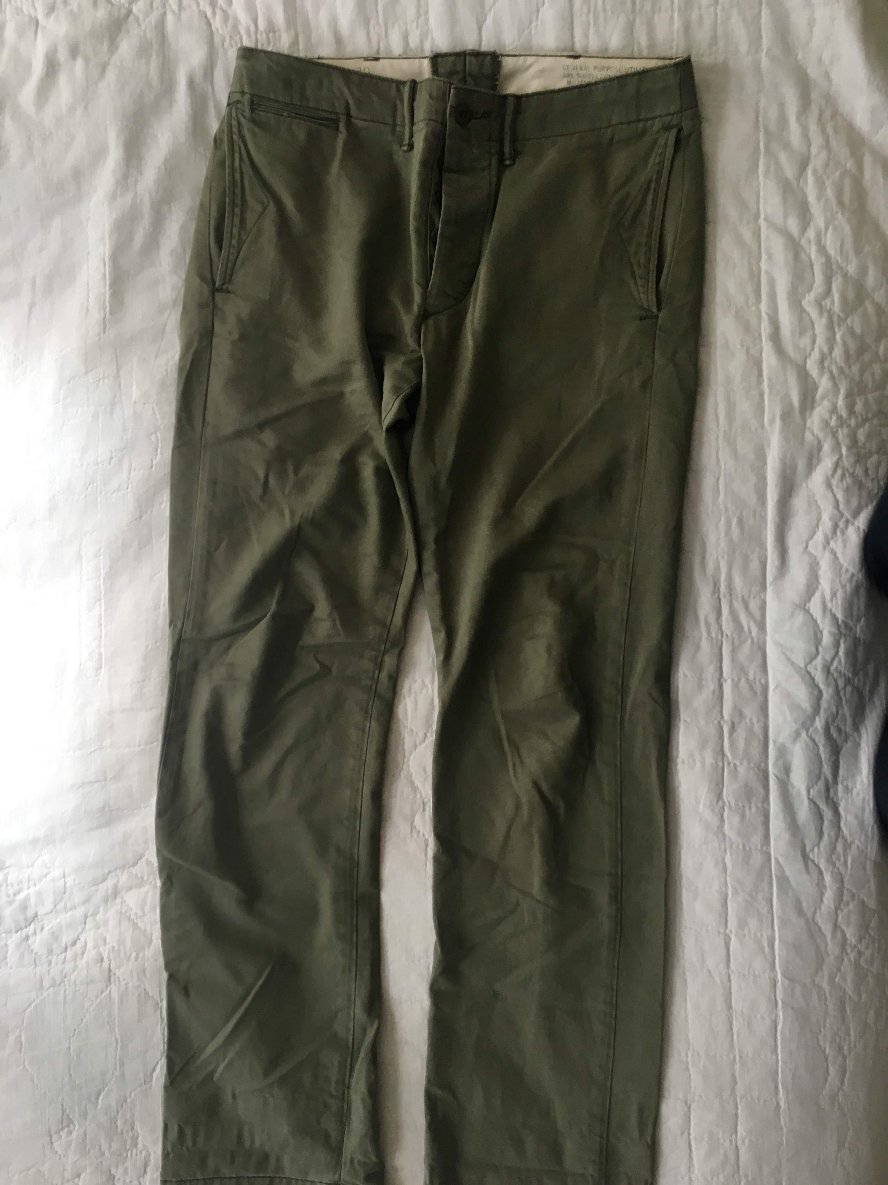 RRL Officers Field Trousers Faded Green 30x32
