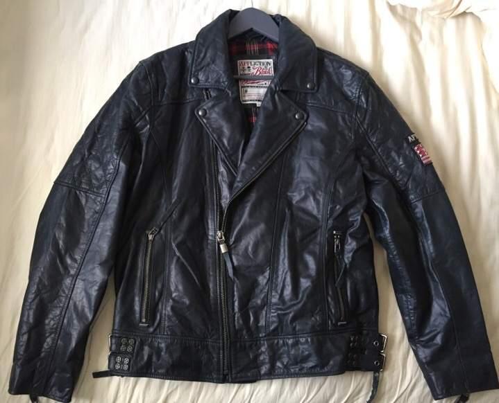 Affliction Waxed Leather Biker Jacket, Very Dark Blue