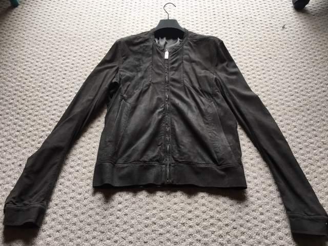 BNWOT Rick Owens Dark Dust Collarless Lambskin Leather Jacket 50