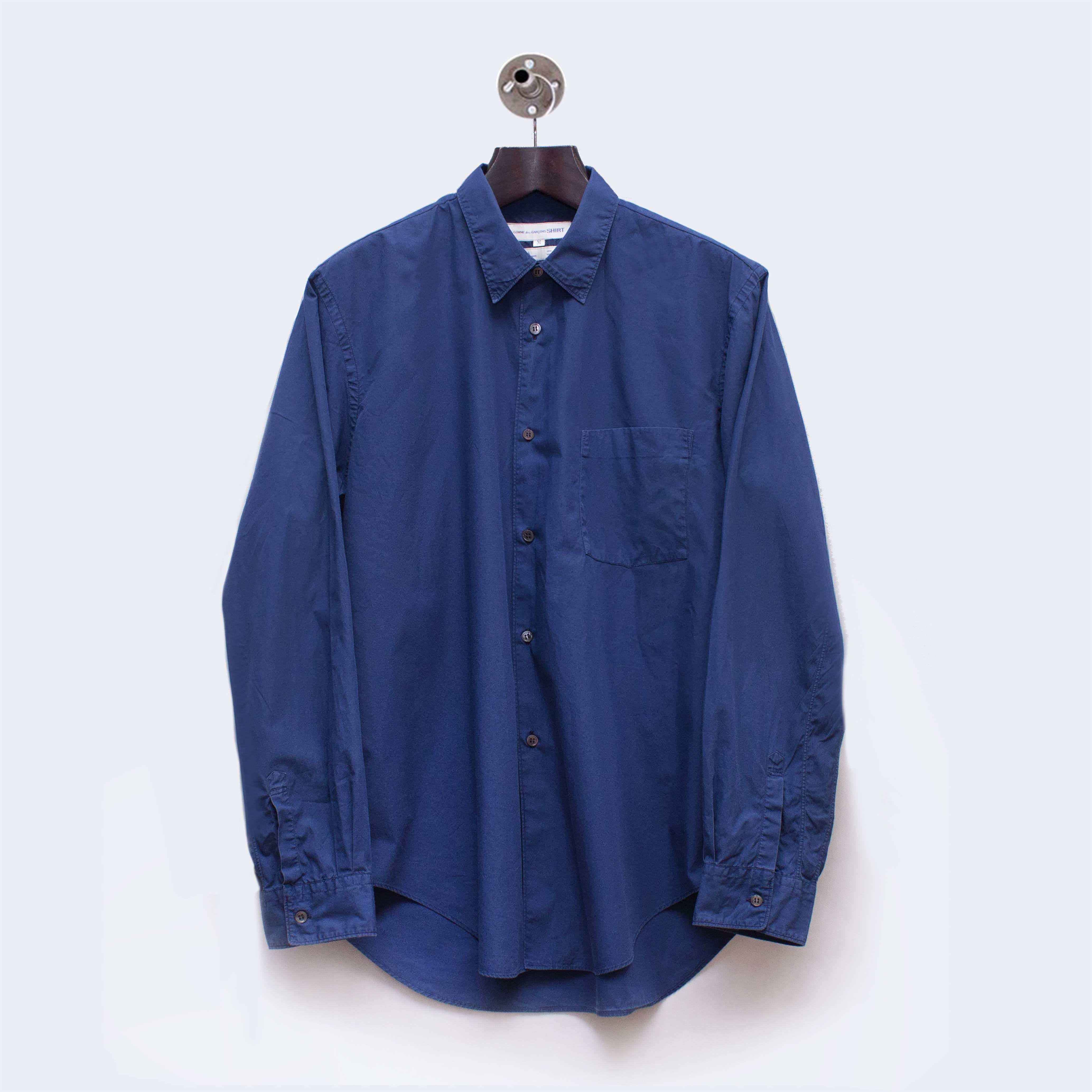 Comme des Garçons Shirt overdyed royal blue shirt