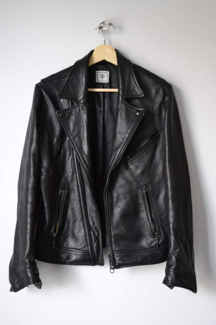 Temple of Jawnz Minimalist Double Rider - Blacked Out Leather Jacket - XS