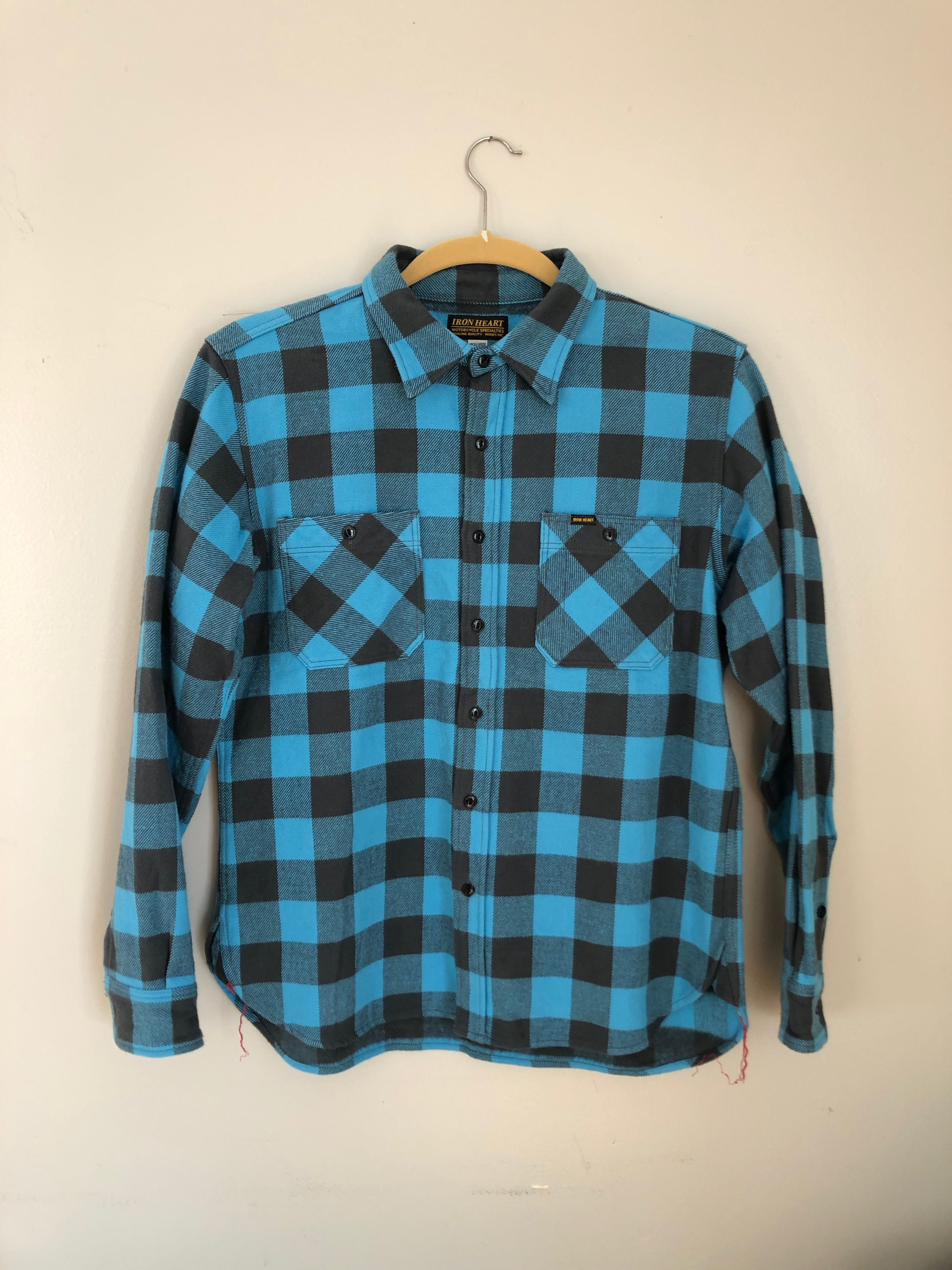 Iron Heart IHSH-102-TG (Turquoise/Grey Ultra Heavy Buffalo Check Work Shirt)