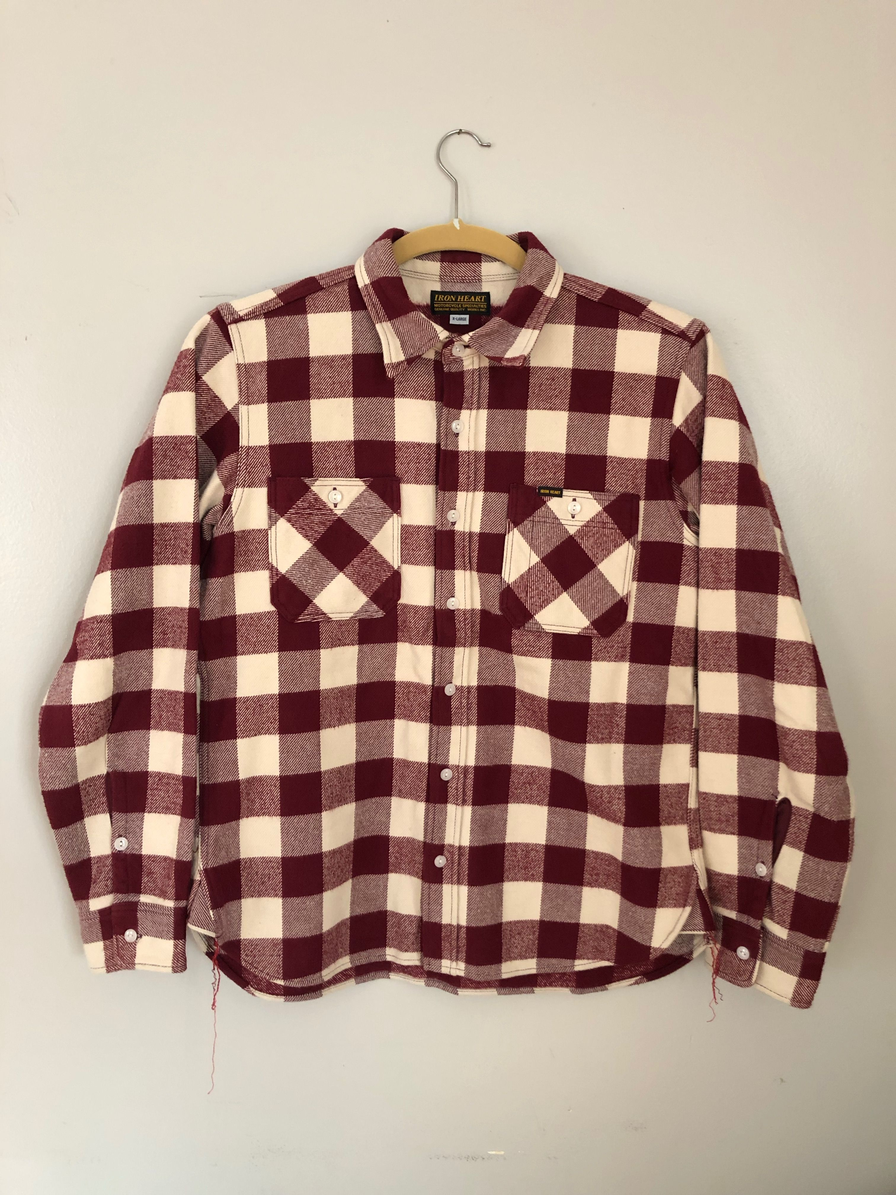 Iron Heart IHSH-102-MC (Maroon/Cream Ultra Heavy Buffalo Check Work Shirt)