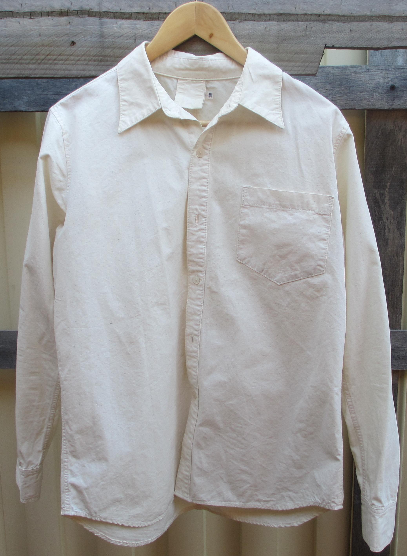 Fullcount brand 36 Made In Japan Cotton/Silk Shirt Mens Small Cream